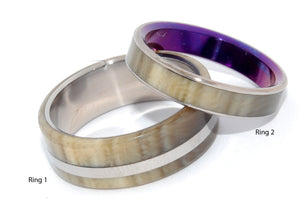 Happy Love | Horn and Titanium Wedding Rings