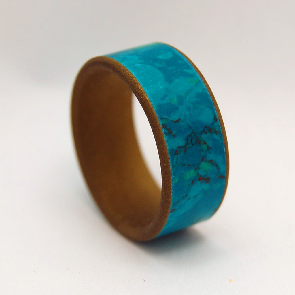 FALLS OASIS | Chrysocolla Stone & Bronze Anodizing Custom Titanium Wedding Rings - Minter and Richter Designs