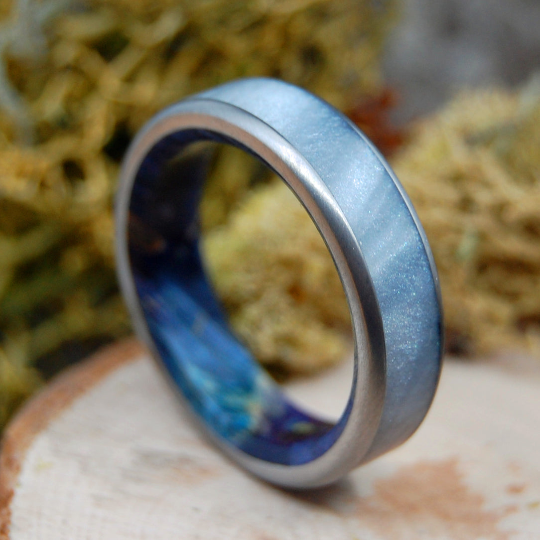 OCEANIA | Gray Marbled Opalescent & Dark Blue Box Elder Wood Titanium Men's Rings - Minter and Richter Designs