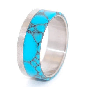 TEMPEST LOOMS | Turquoise & Titanium - Unique Wedding Bands - Minter and Richter Designs