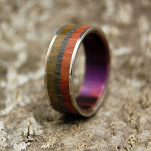 Men's Titanium Wooden Wedding Bands - Ancient Wood Wedding Ring | OLD SOUL