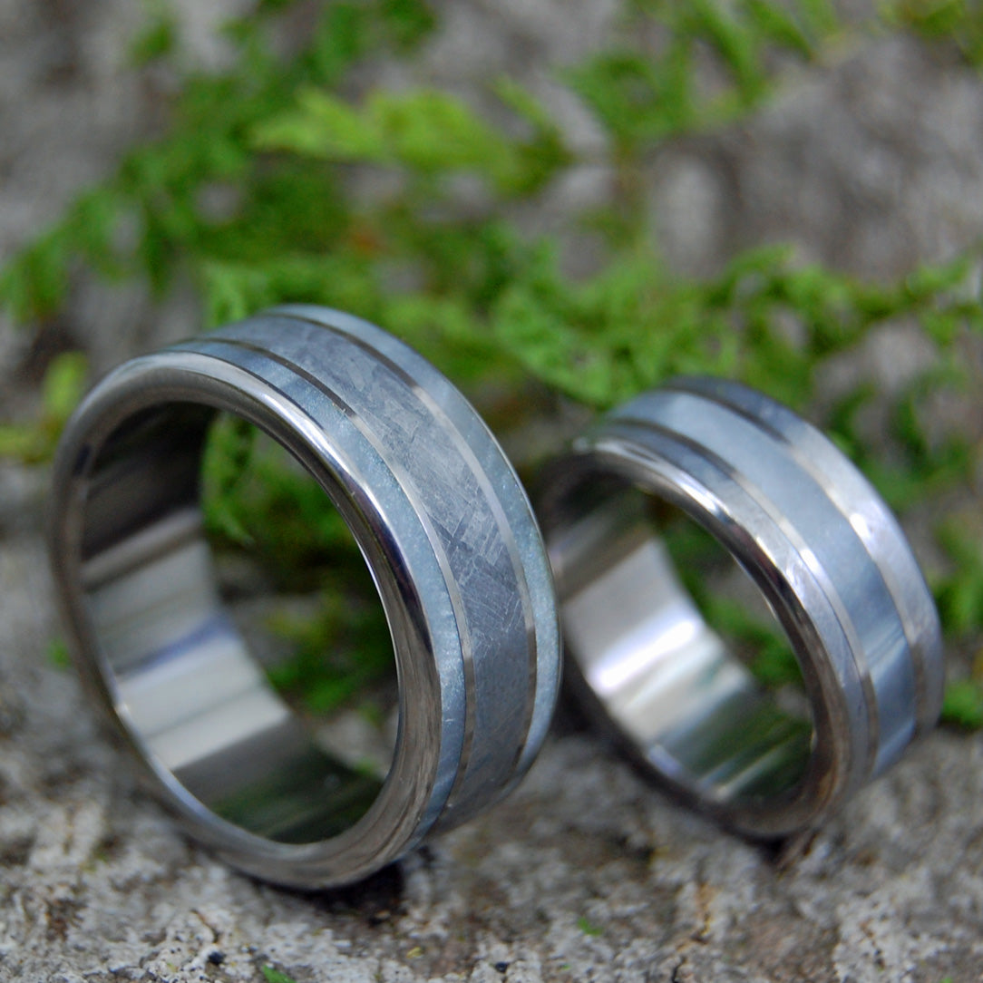 ON COMET ON CUPID | Meteorite & Gray Pearl Marbled Opalescent Resin - Custom Wedding Rings - Minter and Richter Designs