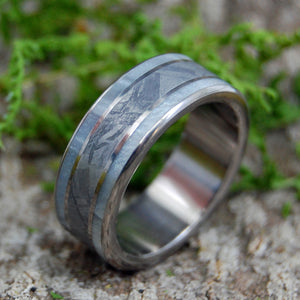 ON CUPID | Gray Marbled Pearl Opalescent & Meteorite Wedding Rings - Minter and Richter Designs