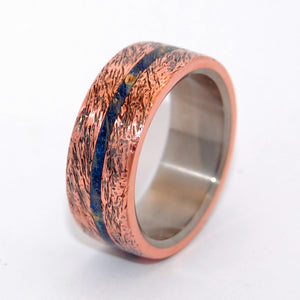 One Soul | Blue Box Elder Wood & Hand Beaten Copper Unique Men's Wedding Rings - Minter and Richter Designs