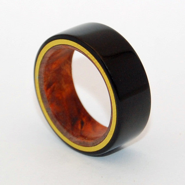 Earth Below Us and Universe Above | Stone and Wood Titanium Wedding Ring