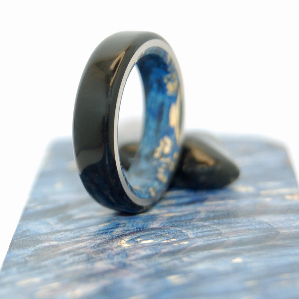 BEST LOVE | Black Onyx Stone & Blue Box Elder Wood Custom Black Rings for Men - Minter and Richter Designs
