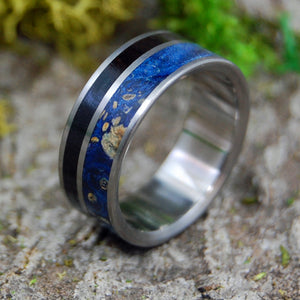 HIS HEART LISTENS | Ebony & Blue Box Elder Wood Titanium Wedding Rings - Minter and Richter Designs