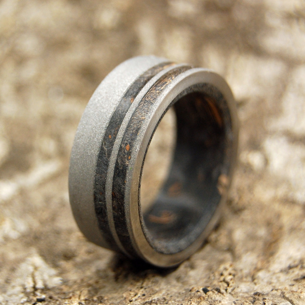 BLACK ONYX | Titanium and Box Elder Wood Wedding Rings - Minter and Richter Designs