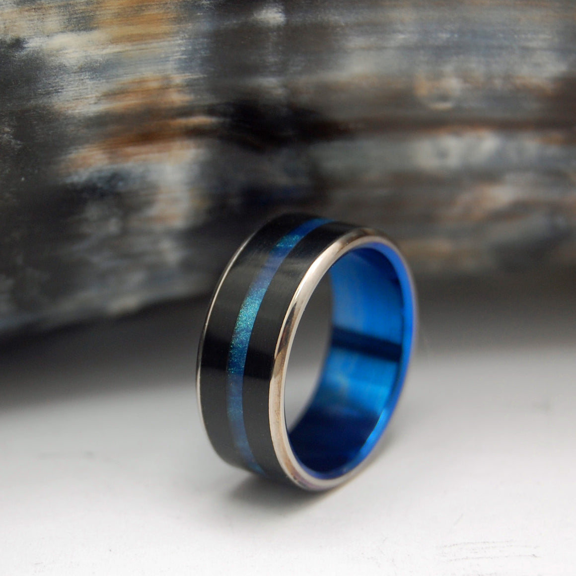Onyx Stone and Blue | Black Rings - Black Wedding Ring - Mens Wedding Ring