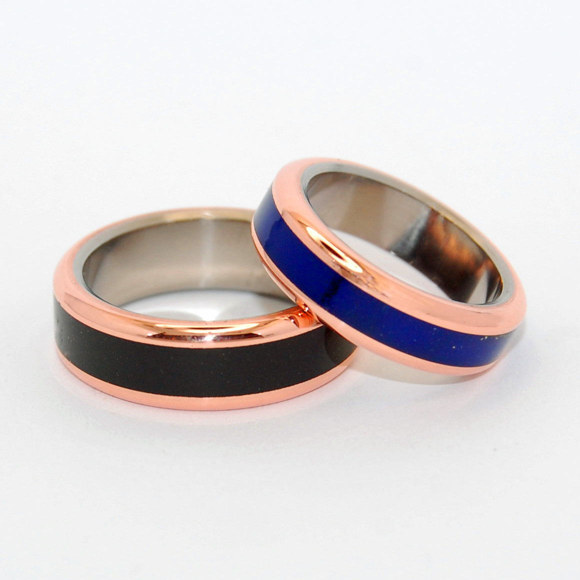 The Body of Heaven In His Clearness | Copper and Stone - Titanium Wedding Ring Set