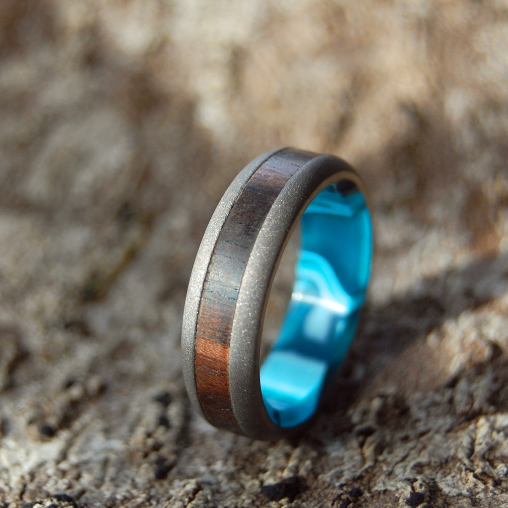 AFRICAN OCEAN | African Ebony Wood & Aquatic Resin Titanium Men's Wedding Rings - Minter and Richter Designs