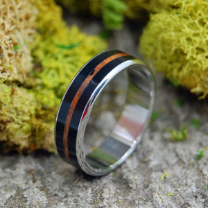 ONYX REDWOOD | Handcrafted Redwood & Onyx Stone Titanium Wedding Rings - Minter and Richter Designs