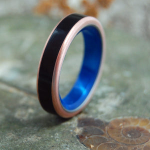 Copper Mens and Womens Wedding Rings | BLUE MARBLE IN THE DEPTHS