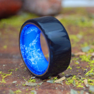 STAND STRONG | Sodalite Stone & Onyx Stone - Titanium Wedding Rings - Black Rings - Minter and Richter Designs