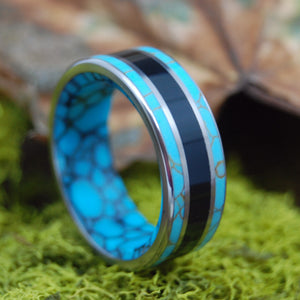 NIGHT ON THE MEDITERRANEAN | Turquoise & Onyx Stone Wedding Ring - Minter and Richter Designs