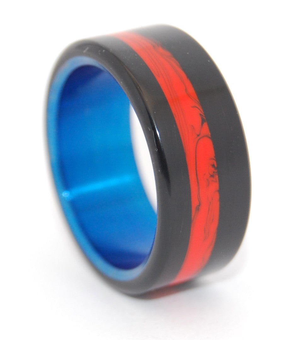 Campfire | Black-Orange and Hand Anodized Titanium Wedding Ring