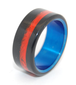 Campfire | Black-Orange and Hand Anodized Titanium Wedding Ring - Minter and Richter Designs