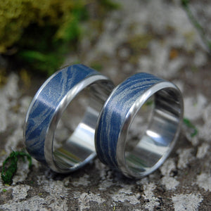 "INOX BLUE KATANA | Steel & Blue M3 Wedding Bands as seen on ""The Orville"" TV Show - Minter and Richter Designs"