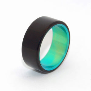 OTHELLO'S ENVY | Onyx Stone & Green Anodized Titanium Men's Wedding Rings - Minter and Richter Designs