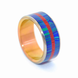 OUR ECHOES | Blood Wood & Azurite Malachite Stone with Sunset Anodized Titanium Blue Wedding Rings - Minter and Richter Designs