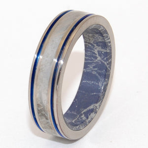 MOON AND SKY | Meteorite & M3 Blue Silver Mokume Gane Meteorite Titanium Wedding Rings - Minter and Richter Designs