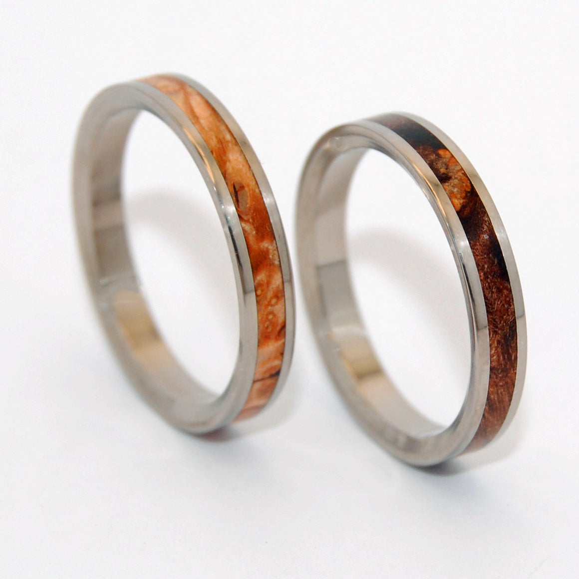 OWL MOON | Dark Maple & Light Maple Wood - Wooden Wedding Rings - His & Hers Matching Titanium Wedding Rings Set - Minter and Richter Designs