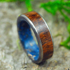 POSEIDON'S CONIFER | Koa Wood & Dark Blue Box Elder Titanium Wedding Rings - Minter and Richter Designs