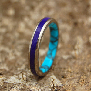 PRINCESS CHARLOTTE | Turquoise Stone & Charoite Stone - Unique Wedding Rings - Minter and Richter Designs