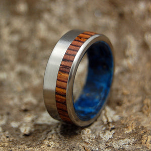 PRIVATE UNIVERSE | Cocobolo Wood & Blue Box Elder Wood Titanium Wedding Rings - Minter and Richter Designs