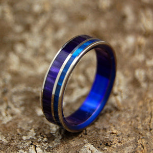 Royal Love | Purple and Blue Handcrafted Women's Titanium Wedding Rings