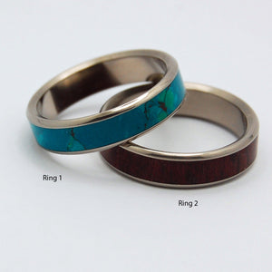 YOUR BRAVE HEART / MY GOLDEN PROMISE | Stone and Wood Custom Wedding Band Set - Minter and Richter Designs