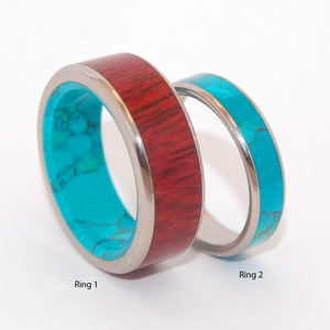 PROMISED LAND GOLDEN PROMISE | Purple Heart Wood & Chrysocolla Stone - Unique Titanium Wedding Rings set - Minter and Richter Designs