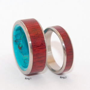 PROMISED LAND BRAVE HEART | Purple Heart Wood & Chrysocolla Stone - Unique Titanium Wedding Rings set - Minter and Richter Designs