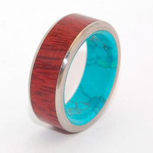 PROMISED LAND | Purple Heart Wood & Chrysocolla Stone - Men's Titanium Wedding Rings - Minter and Richter Designs