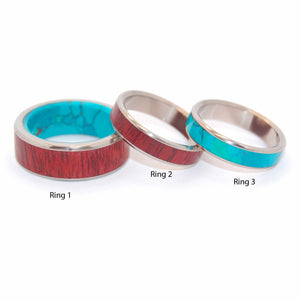 PROMISED LAND | Purple Heart Wood & Chrysocolla Stone - Titanium Engagement and Wedding Band Set - Minter and Richter Designs