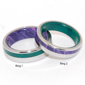 PURPLE ISLE & GREEN MOUNTAIN | Jade Stone Charoite Stone & Titanium - Unique Wedding Rings Set - Minter and Richter Designs