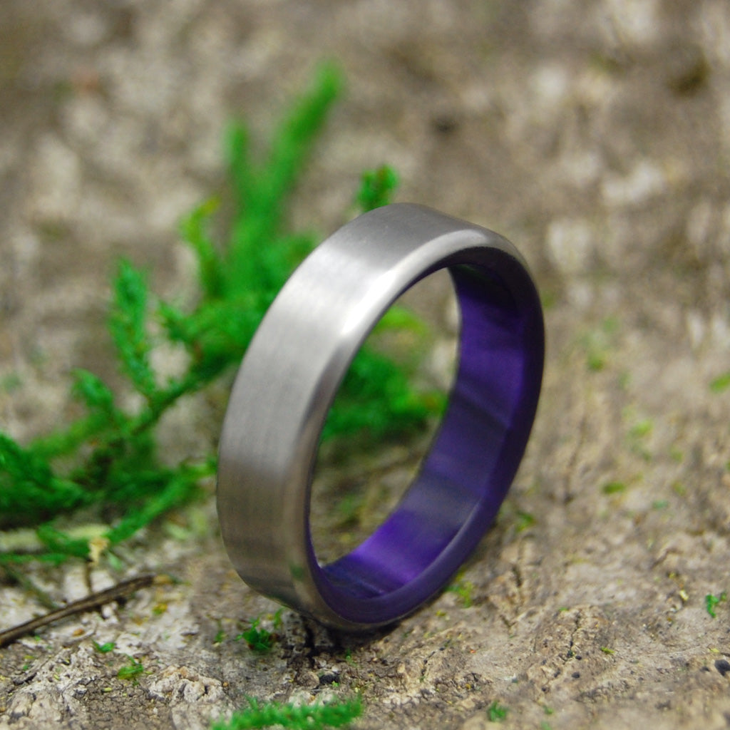 ROYAL SWIM IN | Purple Marbled Resin Titanium Women's Wedding Rings - Minter and Richter Designs