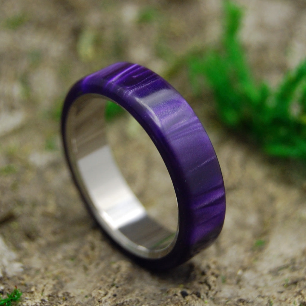 ROYAL SWIM OUT | Purple Marbled Resin & Titanium Women's Wedding Rings - Minter and Richter Designs
