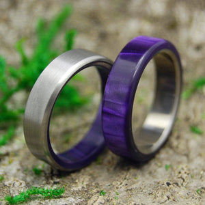 ROYAL SWIM IN & OUT | Purple Marbled Resin & Titanium - Unique Wedding Rings - Minter and Richter Designs