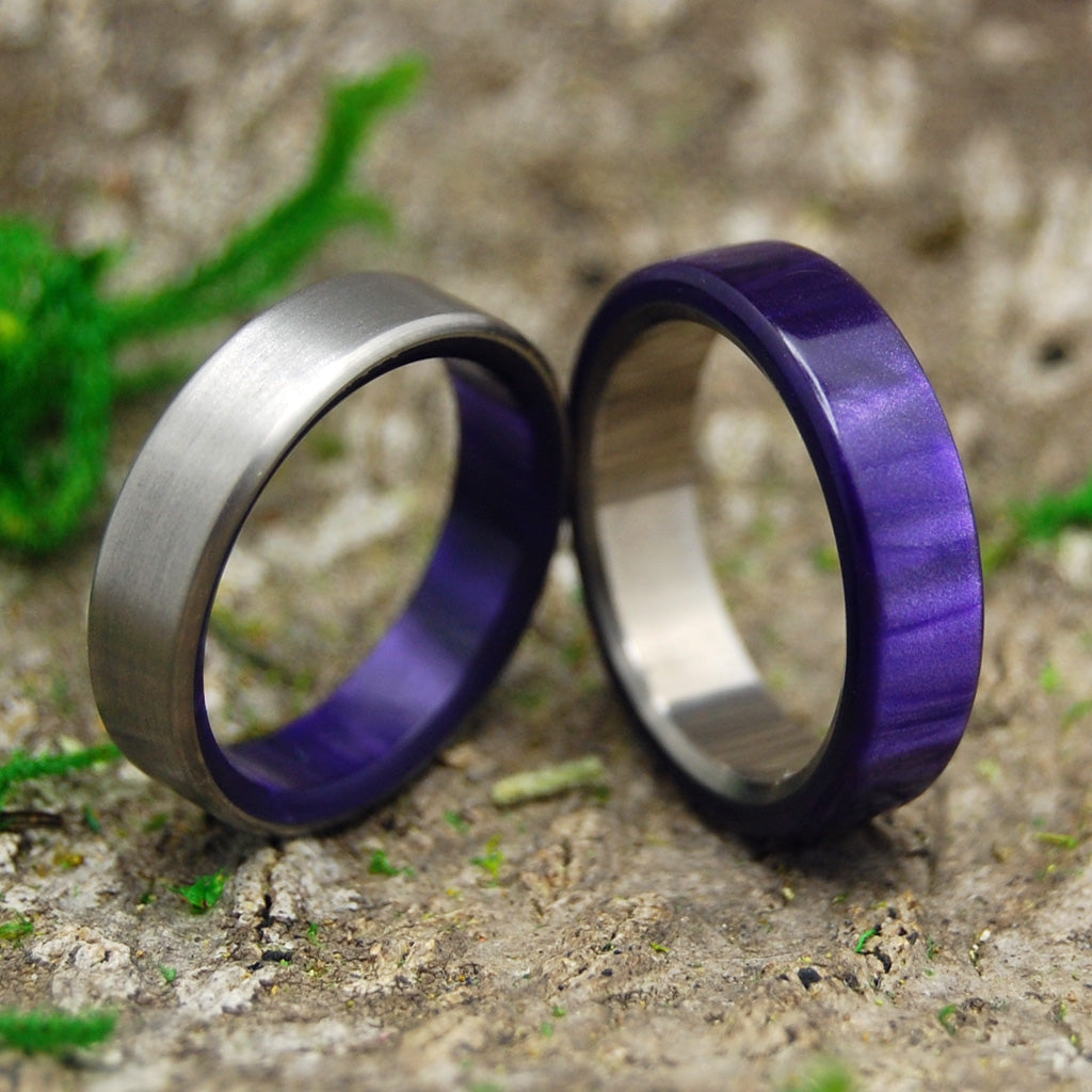 Wedding Ring Set - Purple Wedding Rings | ROYAL SWIM IN AND OUT - Minter and Richter Designs