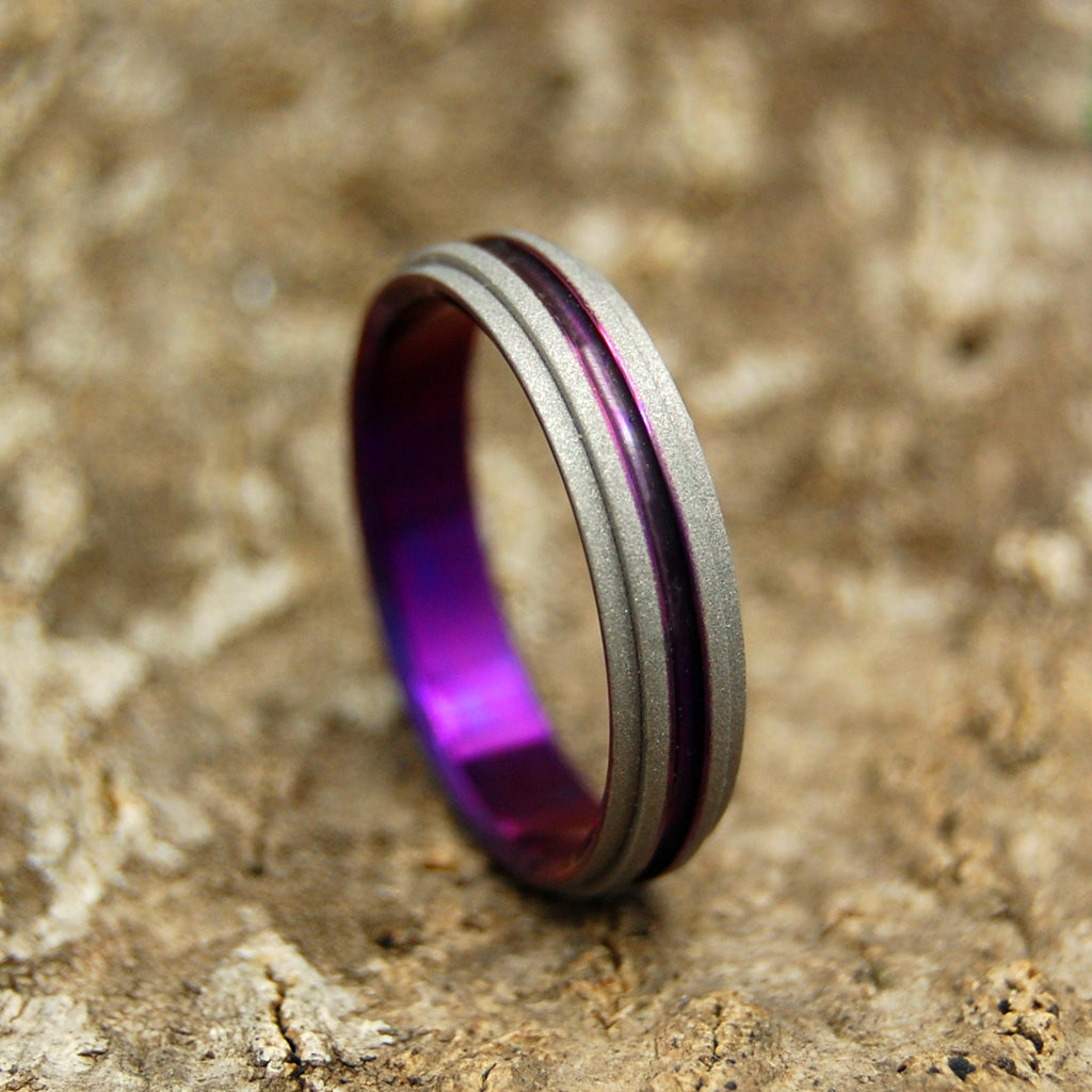 Purple One Step Forward | Handcrafted Titanium Wedding Bands
