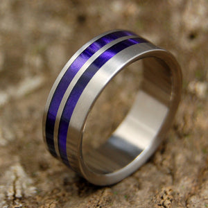 ROMAN PURPURE | Purple Marbled Opalescent Resin Titanium Men's Wedding Rings - Minter and Richter Designs
