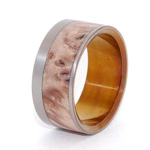 Purr | Wood and Hand Anodized Bronze Titanium Wedding Ring - Minter and Richter Designs