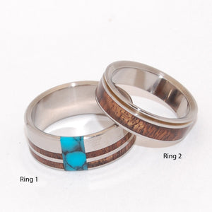 Pu'uwai and Koa Comet and Constellation | Titanium Wooden Wedding Ring Set