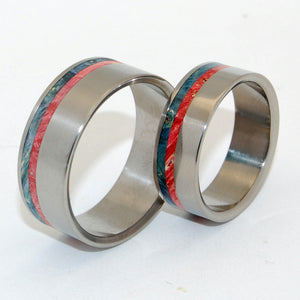 Wild Blue Yonder | Blue Wood and Red Wood Matching Wedding Band Set - Minter and Richter Designs