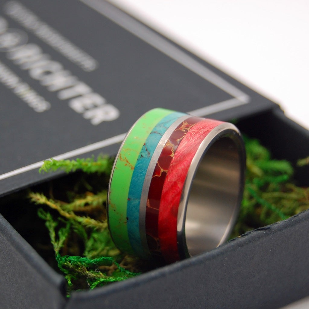 BRIGHT LION | Meteorite, Wood & Stone Titanium Wedding Rings - Minter and Richter Designs