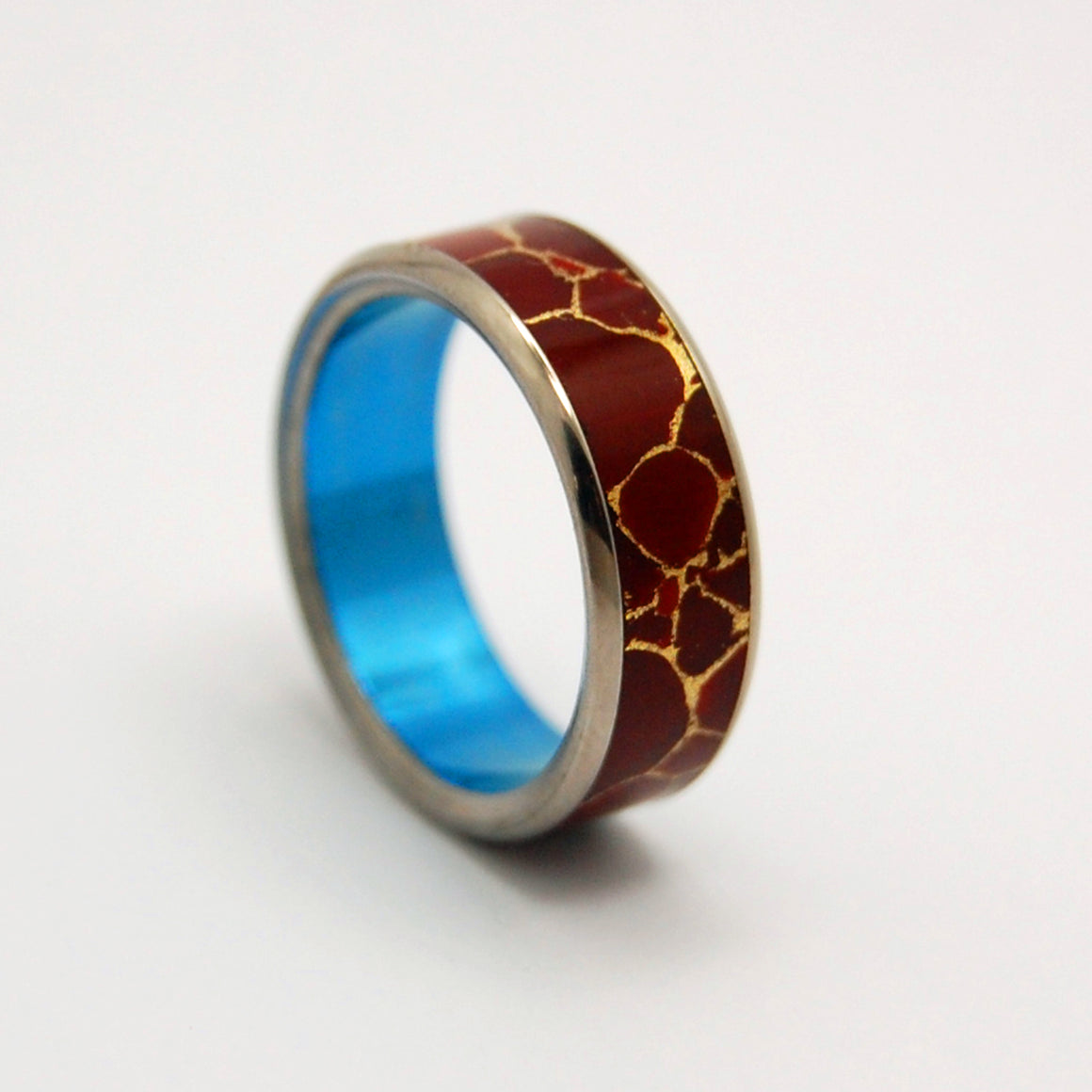 STONE OF ENDURANCE BLUE | Red Jasper Stone & Titanium - Unique Wedding Rings - Women's Wedding Rings - Minter and Richter Designs