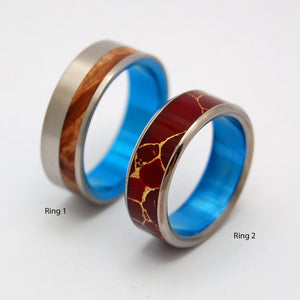 Stone of Endurance Blue and Blue Faun | Handcrafted Titanium Wedding Band Set