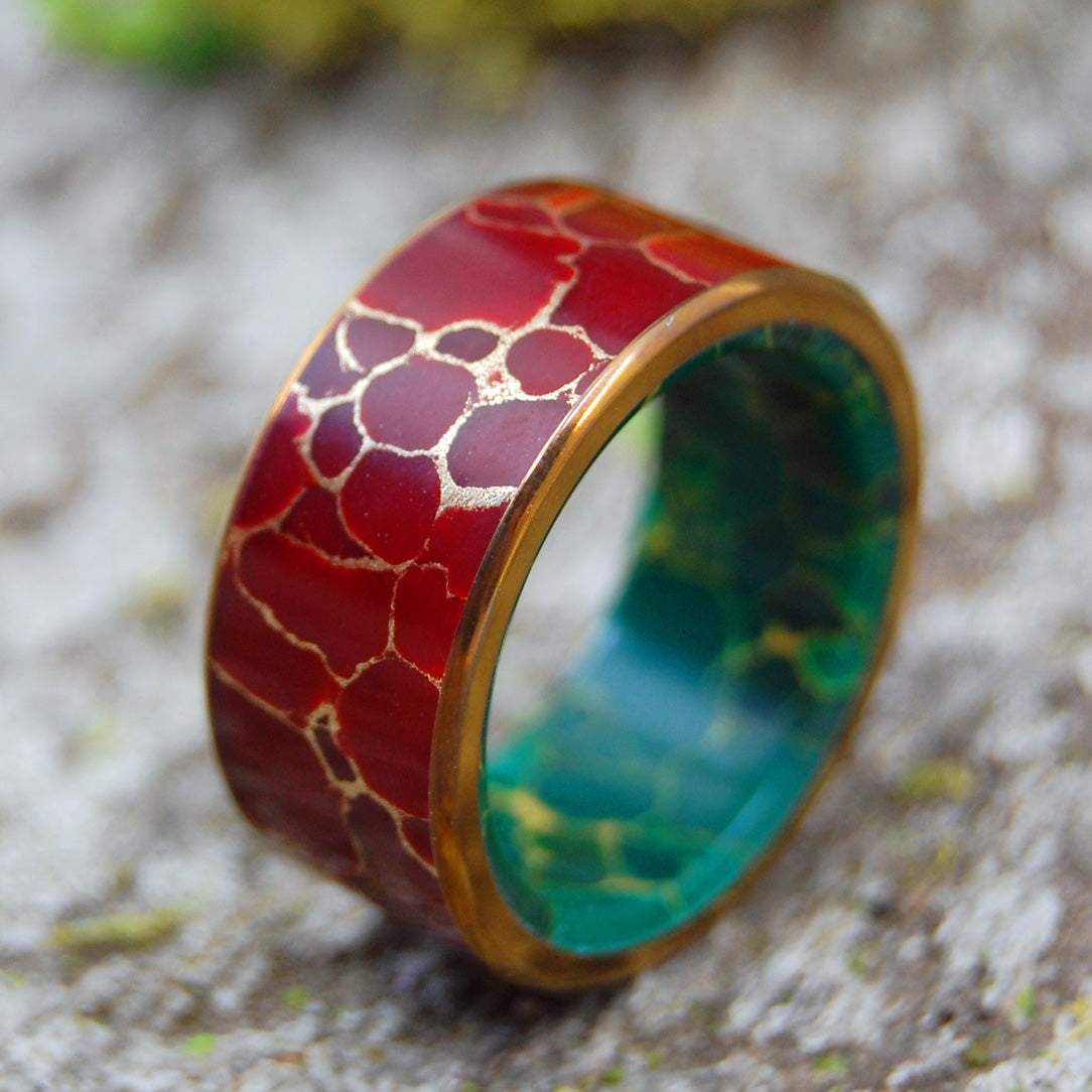BOLD KING | Red Jasper Stone & Egyptian Jade Titanium Wedding Rings - Minter and Richter Designs