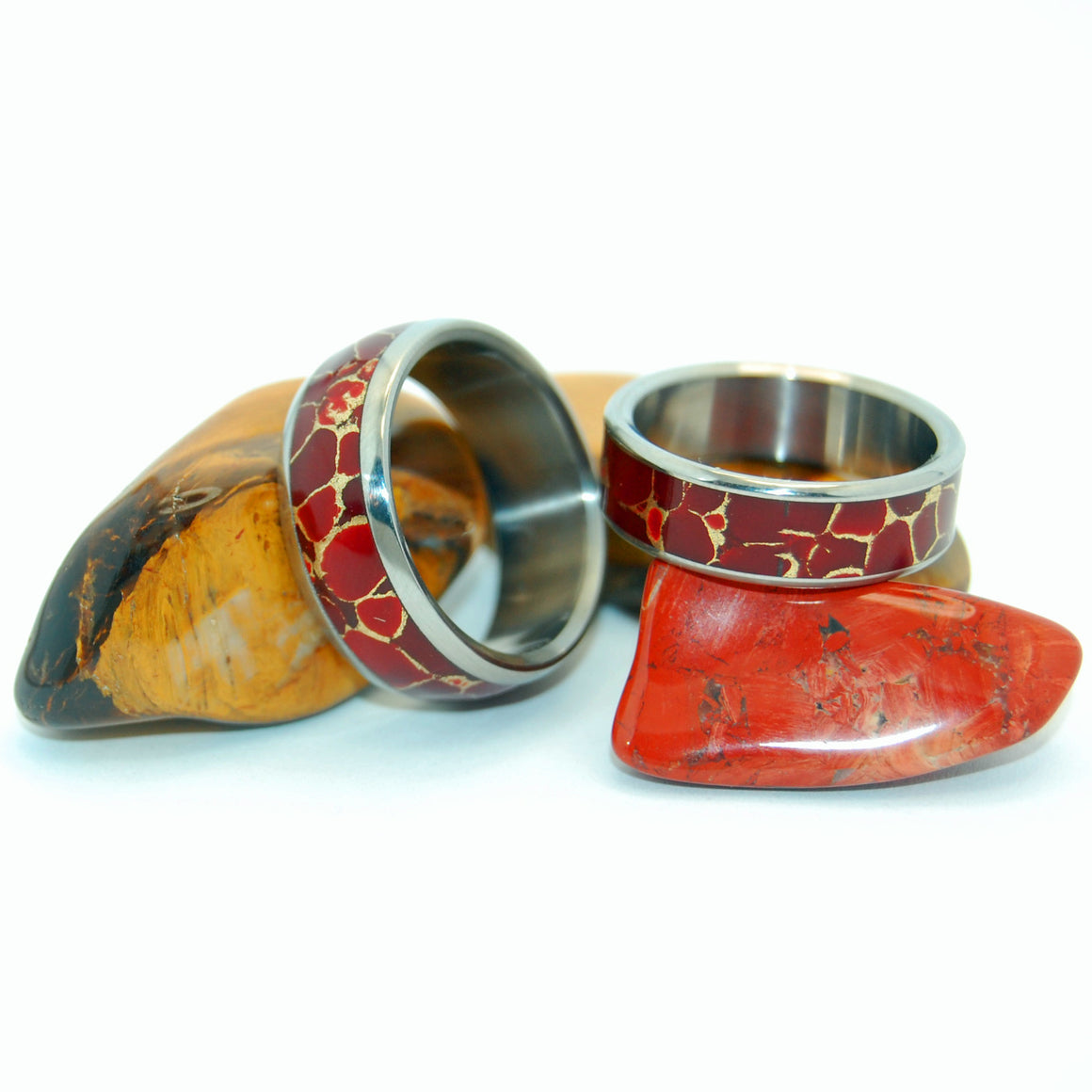 RED JASPER WEDDING SET | Jasper Stone & Titanium - Unique Wedding Rings - Women's Wedding RingsH - Minter and Richter Designs